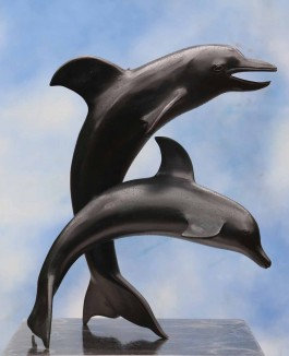 Leaping Dolphins by Anon Unknown