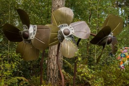 Lata Upadhyaya, Propeller Flowers, Bronze, Aluminium and Steel, Unique at The Sculpture Park