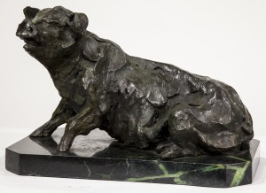 B.C. Zheng, Seated Pig, Bronze on Marble Base, Signed, 23cms high, 34cms wide, 21cms deep