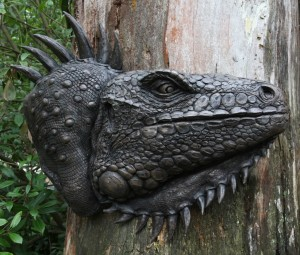 Giant Iguana Head Plaque by David Cooke