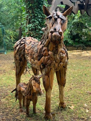 Driftwood Horse and Foal Sculpture at The Sculpture Park