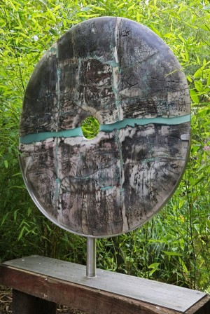 Raku Mounted Disc by Peter Hayes at The Sculpture Park