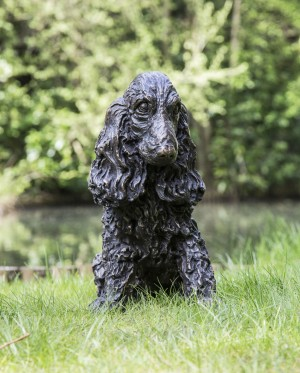 Tanya Russell, Sitting Cocker Spaniel, Bronze, 45cm high, 28cm wide, 45cm deep, The Sculpture Park