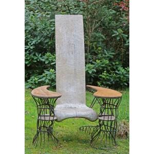 1980 European design Wrought Iron Solid Adzed Timber Throne