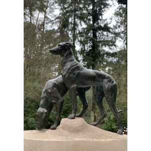 Anon. Greyhounds, Bronze, Signed, 28cm high, 33cm wide, 12cm deep