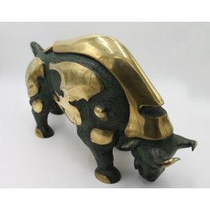 Anon Unknown, Modern Art Bull, Bronze, 32cm high, 9cm wide, 58cm deep, The Sculpture Park