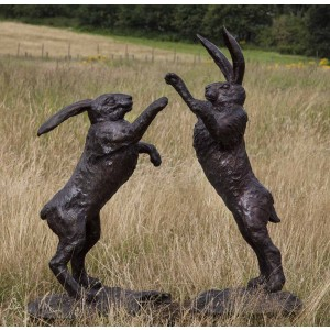 Large Boxing Hares by John Cox at The Sculpture Park