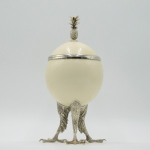 Ostrich Egg & Silvered Eagle Claw Trinket Pot by Anon. Unknown