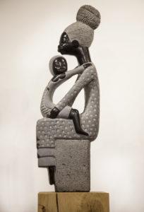 Boet Nyariri, Comforting Mother, Springstone, Signed Unique, 59cm high, 20cm wide, 12cm deep