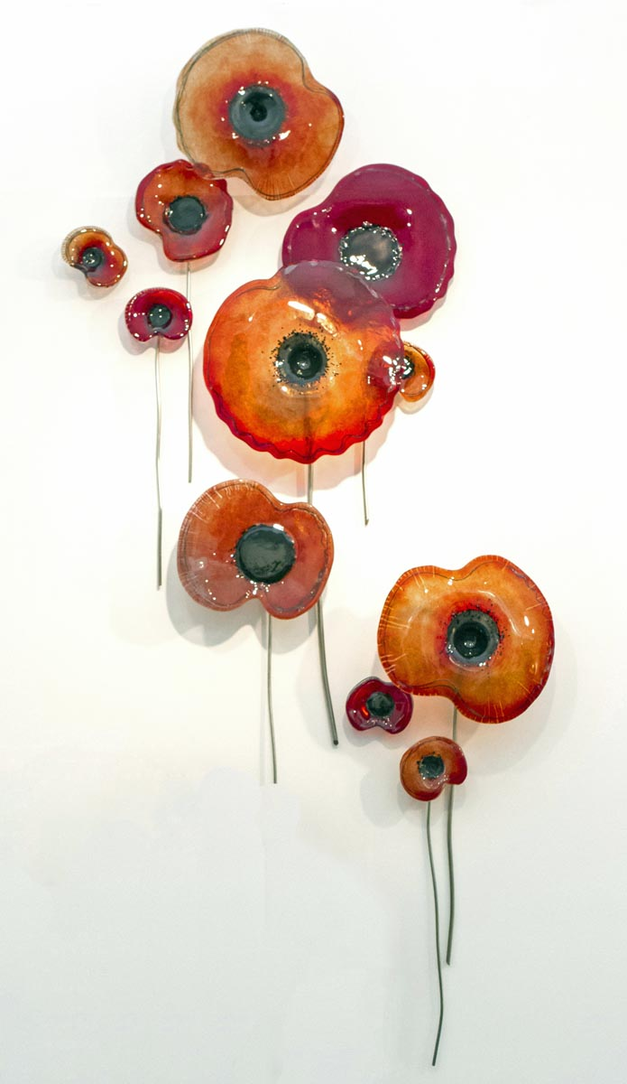 Glass Poppies by Carrie fisher, Glass Sculptures for Sale, The Sculpture Park