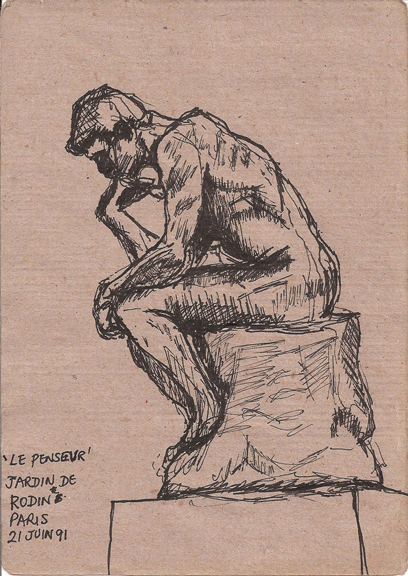 The Thinker Rodin Drawing Sculpture